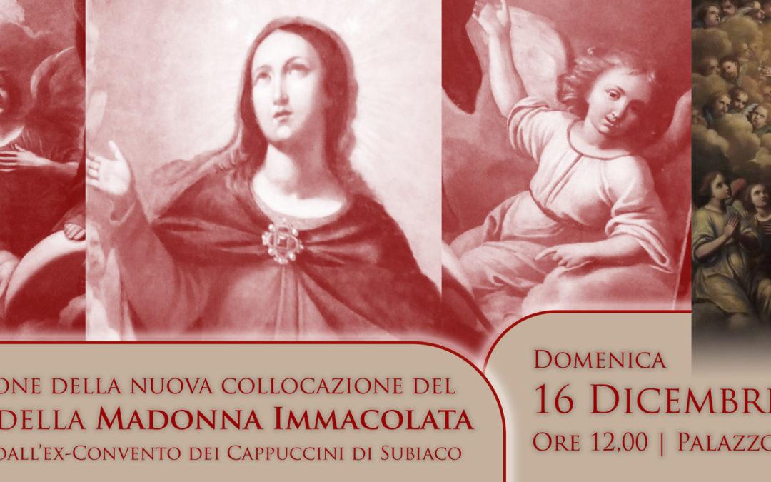 Nuova collocazione del dipinto della Madonna Immacolata